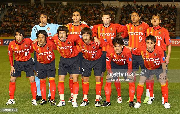 Players of Nagoya Grampus Eight pose for a team photograph before the AFC Champions League Group E match between Nagoya Grampus Eight and the...