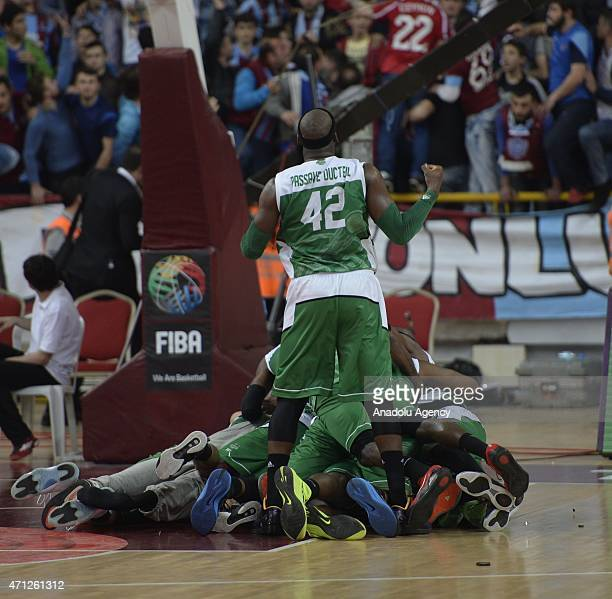 Players of Nanterre celebrate after winning the FIBA EuroChallenge Final Four basketball match between Trabzonspor Medical Park and Nanterre at the...