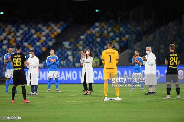 Players of Napoli and FC Internazionale clap the doctors during the Coppa Italia SemiFinal Second Leg match between SSC Napoli and FC Internazionale...