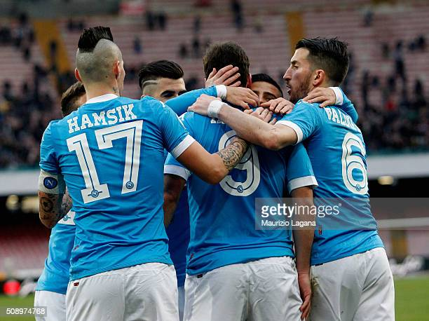 Players of Napoli celebrate during the Serie A match between SSC Napoli and Carpi FC at Stadio San Paolo on February 7 2016 in Naples Italy
