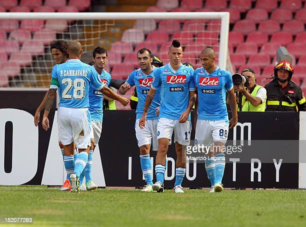 Players of Napoli celebrate the second goal during the Serie A match between SSC Napoli v Parma FC at Stadio San Paolo on September 16 2012 in Naples...