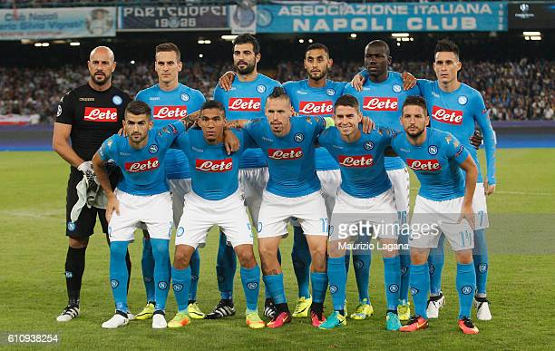 Players of Napoli pose for photo prior the UEFA Champions League match between SSC Napoli and Benfica at Stadio San Paolo on September 28 2016 in...
