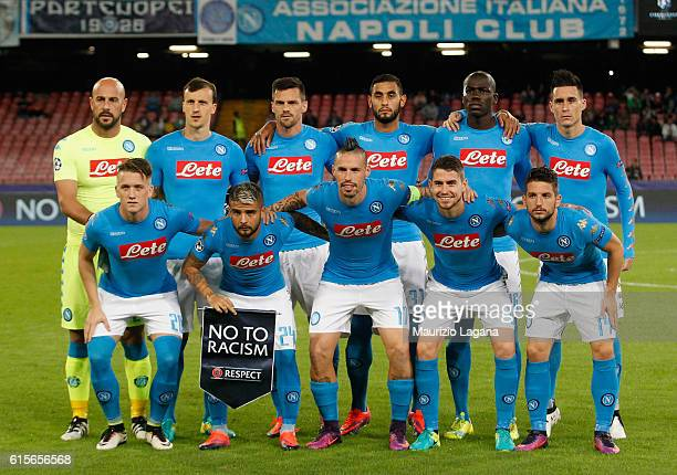 Players of Napoli pose for photo with the banner against the racism prior the UEFA Champions League match between SSC Napoli and Besiktas JK at...