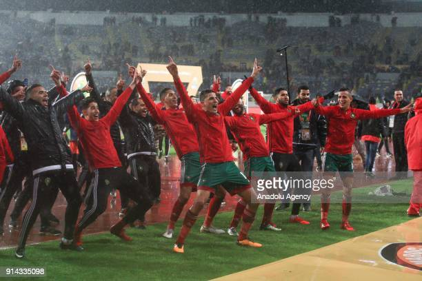 Players of national football team of Morocco celebrate championship after 2018 African Nations Championship final between Morocco and Nigeria at...