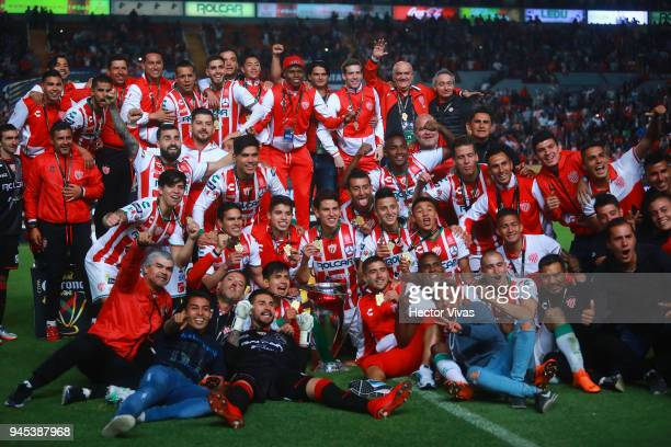 Players of Necaxa celebrate after winning the Championship match between Necaxa and Toluca as part of the Copa MX Clausura 2018 at Victoria Stadium...