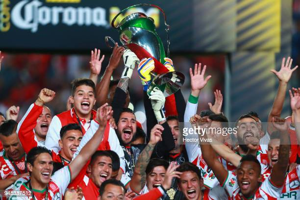 Players of Necaxa celebrate with the champions trophy after the Championship match between Necaxa and Toluca as part of the Copa MX Clausura 2018 at...