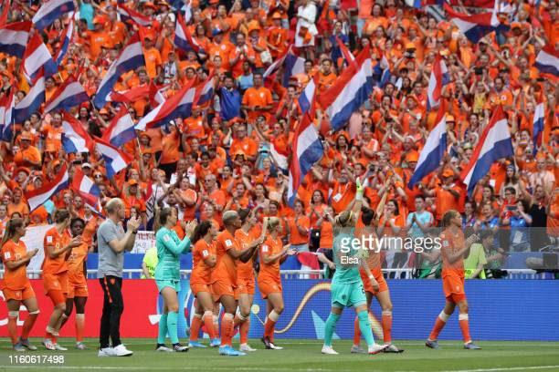 Players of Netherlands acknowledge the fans following the 2019 FIFA Women's World Cup France Final match between The United States of America and The...