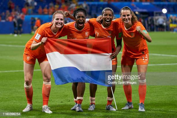 players of Netherlands celbrating victory after the match during the 2019 FIFA Women's World Cup France Semi Final match between Netherlands and...