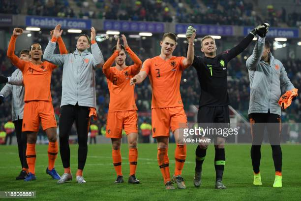 Players of Netherlands celebrate following their team's draw in the UEFA Euro 2020 Group C Qualifier match between Northern Ireland and Netherlands...