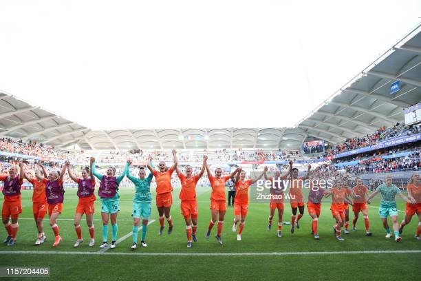Players of Netherlands celebrate the victory after the 2019 FIFA Women's World Cup France group E match between Netherlands and Canada at Stade...