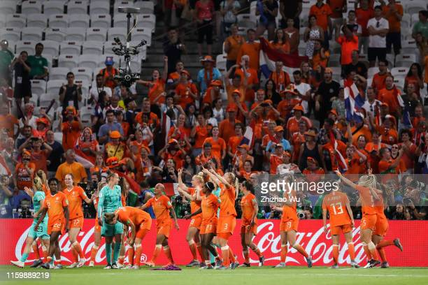 Players of Netherlands celebrate the victory the 2019 FIFA Women's World Cup France Semi Final match between Netherlands and Sweden at Stade de Lyon...