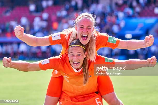 Players of Netherlands celebrate victory after the match during the 2019 FIFA Women's World Cup France Quarter Final match between Italy and and...