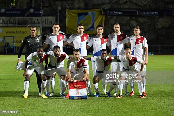 Players of Netherlands pose prior to the FIFA World Cup 2014 group D qualifying match between Andorra and Netherlands on September 10 2013 at Estadi...