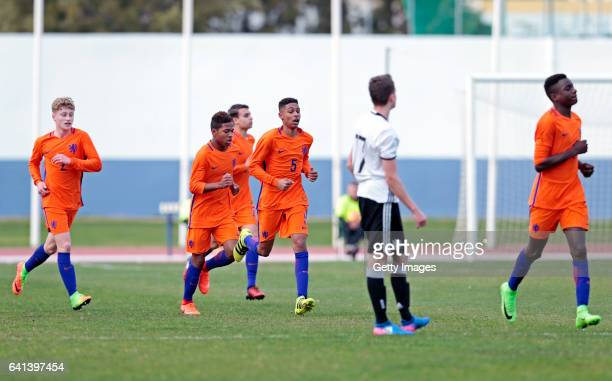 Players of Netherlands U16 celebrating their goal during the UEFA Development Tournament Match between Germany U16 and Netherlands U16 on February 9...