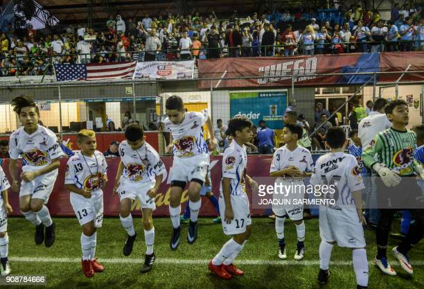 Players of New Jersey Soccer Club from the US warm up before their game against Colombia team El Equipo del Pueblo during the Pony Futbol football...