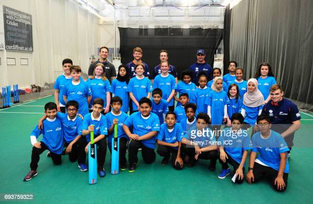 Players of New Zealand and pupils pose during the ICC Champions Trophy Ambassador Shane Bond event at SWALEC Stadium on June 8 2017 in Cardiff Wales