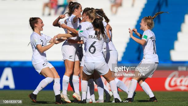 Players of New Zealand celebrate a scored goal during the FIFA U17 Women's World Cup Uruguay 2018 quarter final match between Spain and Korea DPR at...