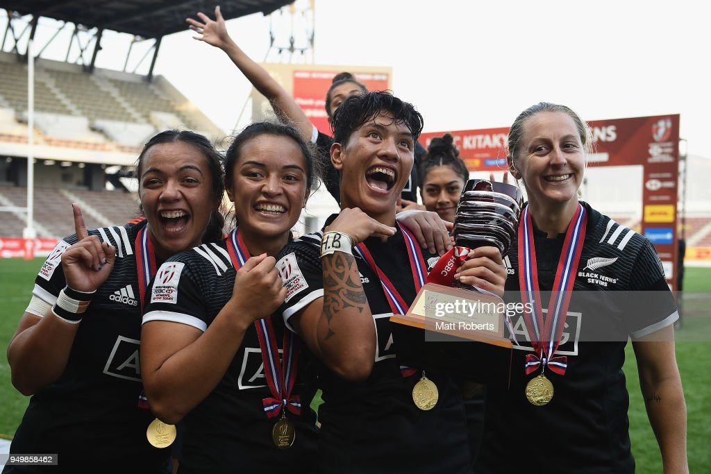 Players of New Zealand celebrate after winning the HSBC Women's Rugby Sevens Kitakyushu at Mikuni World Stadium Kitakyushu on April 22, 2018 in Kitakyushu, Fukuoka, Japan.
