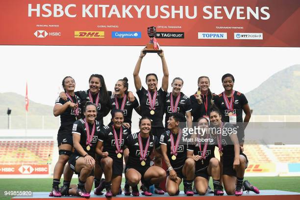 Players of New Zealand celebrate on the podium after winning the HSBC Women's Rugby Sevens Kitakyushu at Mikuni World Stadium Kitakyushu on April 22...