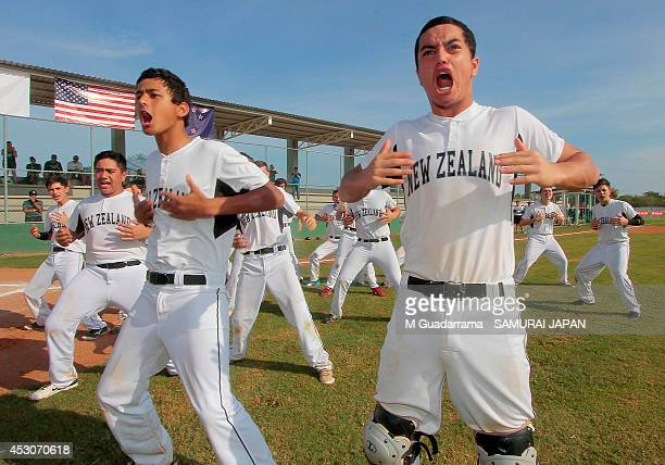Players of New Zealand dance the 'Haka' prior the IBAF 15U Baseball World Cup Group B match between New Zealand and Japan at Benito Juarez Stadium on...