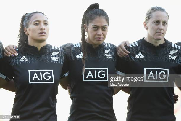 Players of New Zealand line up for the national anthem during the HSBC World Rugby Women's Sevens Series 2016/17 Kitakyushu cup final between Canada...