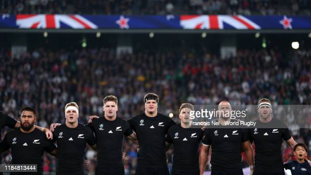 Players of New Zealand participate in the national anthem prior to the Rugby World Cup 2019 Bronze Final match between New Zealand and Wales at Tokyo...