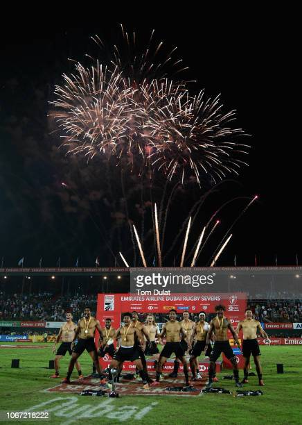 Players of New Zealand perform haka after winning the HSBC World Rugby Sevens Series 2019 Cup Final match between New Zealand and United States on...