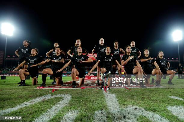 Players of New Zealand perform the haka after winning the Women's Cup Final match between New Zealand and Canada on Day Three of the the HSBC World...