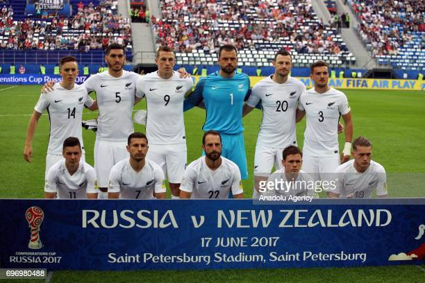 Players of New Zealand pose for a photo ahead of the FIFA Confederations Cup 2017 opening match between Russia and New Zealand at SaintPetersburg...