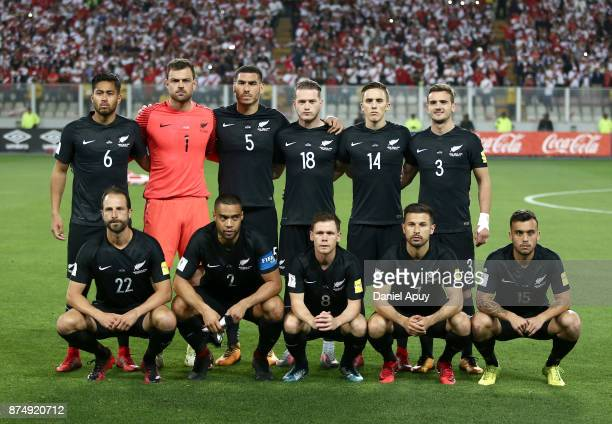 Players of New Zealand pose for a photo prior a second leg match between Peru and New Zealand as part of the 2018 FIFA World Cup Qualifier Playoff at...