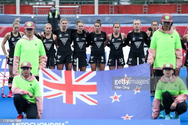 Players of New Zealand sing the national anthem prior to the Women's FIH Field Hockey Pro League match between China and New Zealand at on March 22...