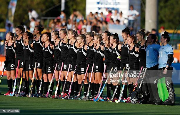 Players of New Zealand sing their National Anthem prior the final match between Argentina and New Zealand as part of Day 9 of the Hockey World League...