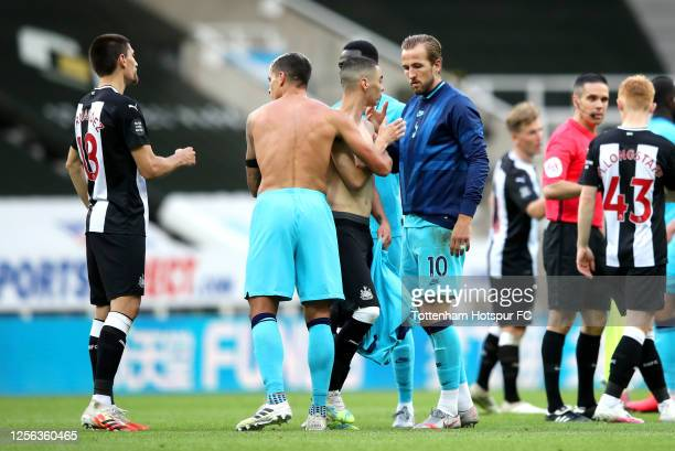 Players of Newcastle United and Tottenham Hotspur shake hands following the Premier League match between Newcastle United and Tottenham Hotspur at St...