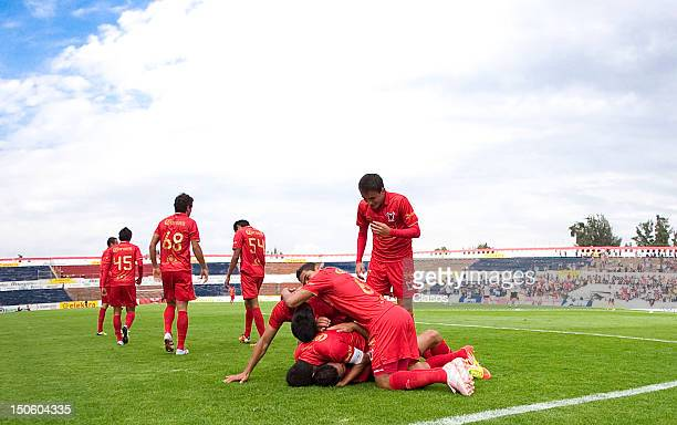 Players of Neza FC celebrates during a match between Neza FC v Atlas as part of the Copa Mx at Neza 86 Stadium on August 22 2012 in Estado de Mexico...