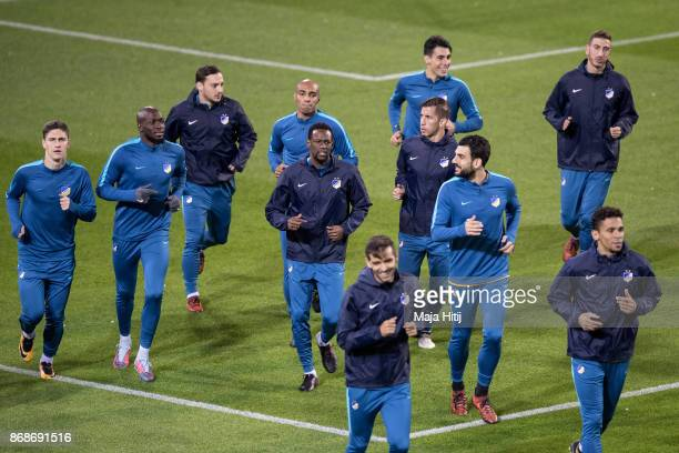 Players of Nicosia warm up during the training prior the UEFA Champions League group H match between Borussia Dortmund and APOEL Nikosia at on...