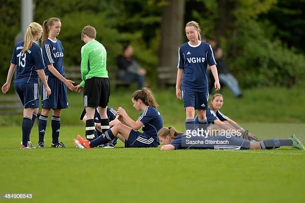 Players of Niedersachsen look dejected after losing their U16 Girl's Federal Cup match against Brandenburg at Sportschule Wedau on April 15 2014 in...