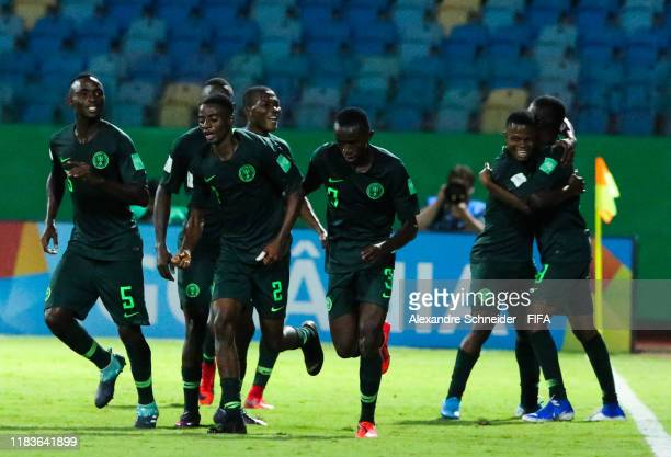 Players of Nigeria celebrate after scoring the thirth goal during the match against Hungary FIFA U17 World Cup Brazil 2019 at Estadio Olimpico on...