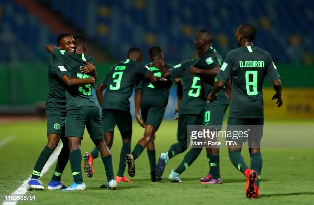 Players of Nigeria celebrate their 3rd goal during the FIFA U17 World Cup Brazil 2019 Group B match between Nigeria and Hungary at Estadio Olimpico...