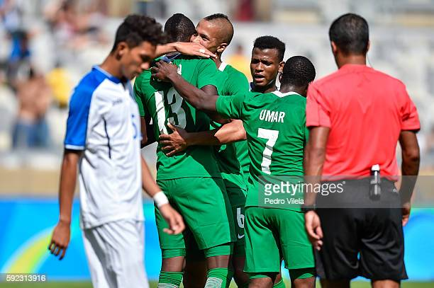 Players of Nigeria celebrates a scored goal against Honduras during a match between Nigeria and Honduras as part of Men`s Football Olympics at...