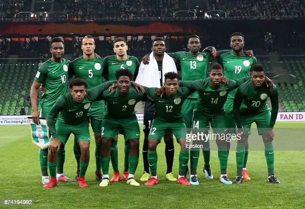 Players of Nigeria pose before an international friendly match between Argentina and Nigeria at Krasnodar Stadium on November 14 2017 in Krasnodar...