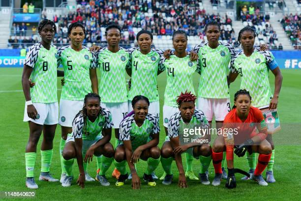 Players of Nigeria pose for a team photograph prior the 2019 FIFA Women's World Cup France group A match between Norway and Nigeria at Stade Auguste...