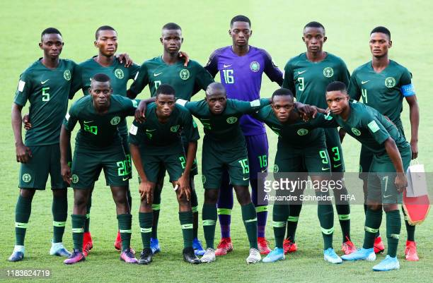 Players of Nigeria pose for photo prior to the match against Hungary for FIFA U17 World Cup Brazil 2019 at Estadio Olimpico on October 26 2019 in...