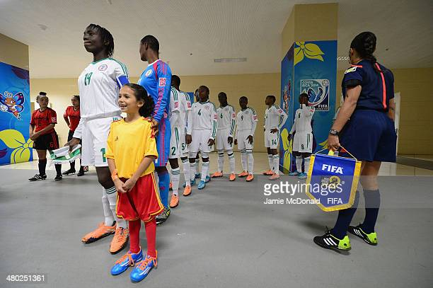 Players of Nigeria wait in the tunnel during the FIFA U17 Women's World Cup Group D match between Nigeria and Mexico at Estadio Nacional on March 23...