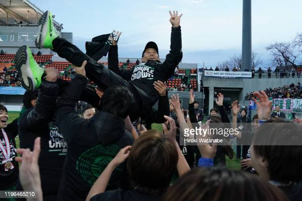 Players of Nippon TV Beleza toss their coach Masato Nagata in the air as they celebrate winning the Empress's Cup JFA 41st Japan Women's Football...