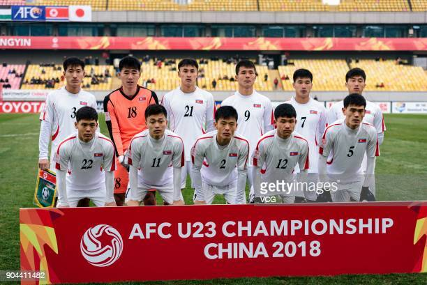 Players of North Korea line up prior to the AFC U23 Championship Group B match between Palestine and North Korea at Jiangyin Stadium on January 13...