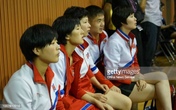 Players of North Korea watch the unified team of South Korea and DPRK in the Mixed Doubles qualifying match during the 2018 ITTF World Tour Korea...