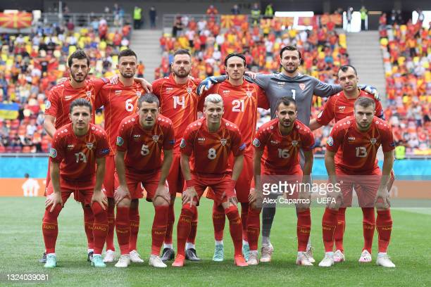 Players of North Macedonia pose for a team photograph prior to the UEFA Euro 2020 Championship Group C match between Ukraine and North Macedonia at...