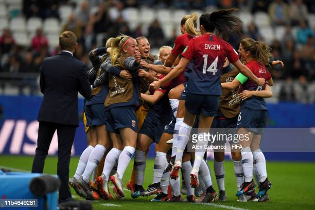 Players of Norway celebrate their side's third goal after Osinachi Ohale of Nigeria scores an own goal during the 2019 FIFA Women's World Cup France...