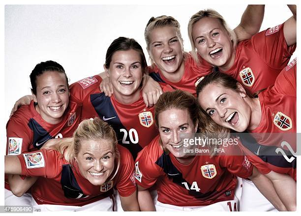 Players of Norway have fun during the FIFA Women's World Cup 2015 portrait session at Fairmont Chateau Laurier on June 3 2015 in Ottawa Canada