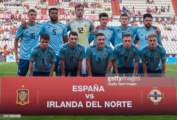Players of Nothern Ireland U21 line up for a team photo prior to the U21 European Championships Qualifying match between Spain and Nothern Ireland on...